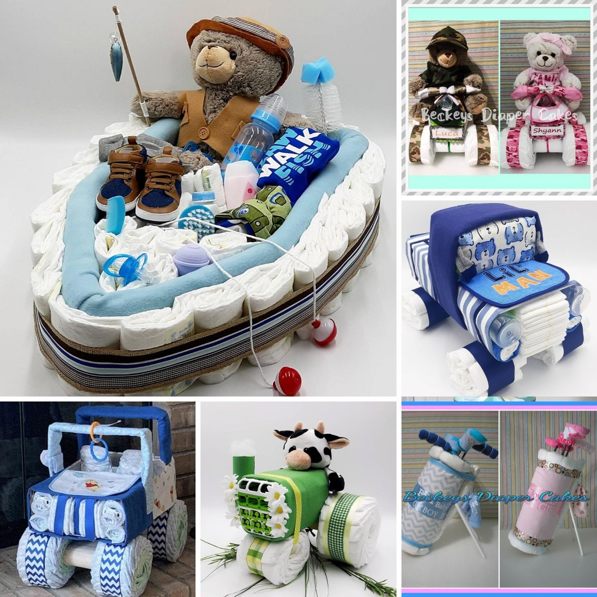 a collage of blue unique diaper cakes for baby boys