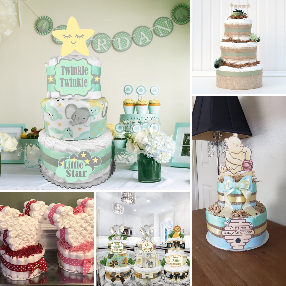 a collage f gender neutral diaper cakes for a baby shower