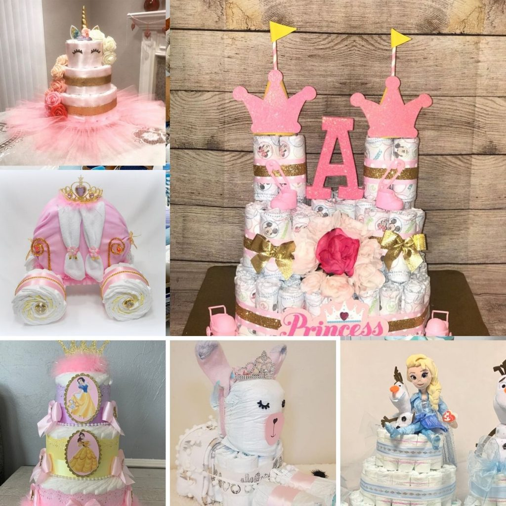 a collage showing pink unique diaper cakes covered in girl things!