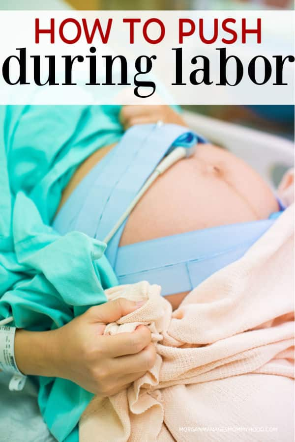 a woman with straps monitoring labor with text overlay reading how to push during labor