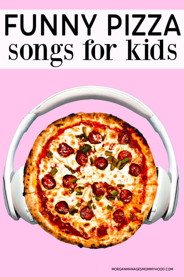 a picture of pizza wearing headphones on a pink background with text overlay reading funny pizza songs for kids