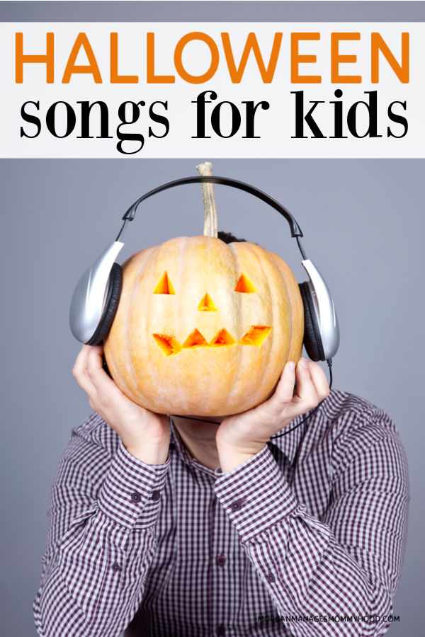 a man with a pumpkin head wearing headphones with text overlay reading halloween songs for kids