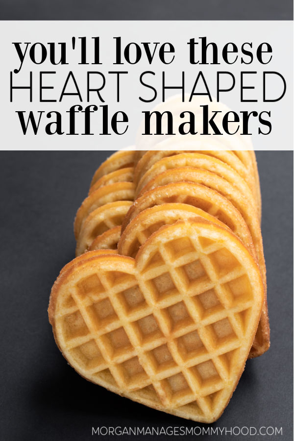 a stack of heart shapped waffled on a dark grey background