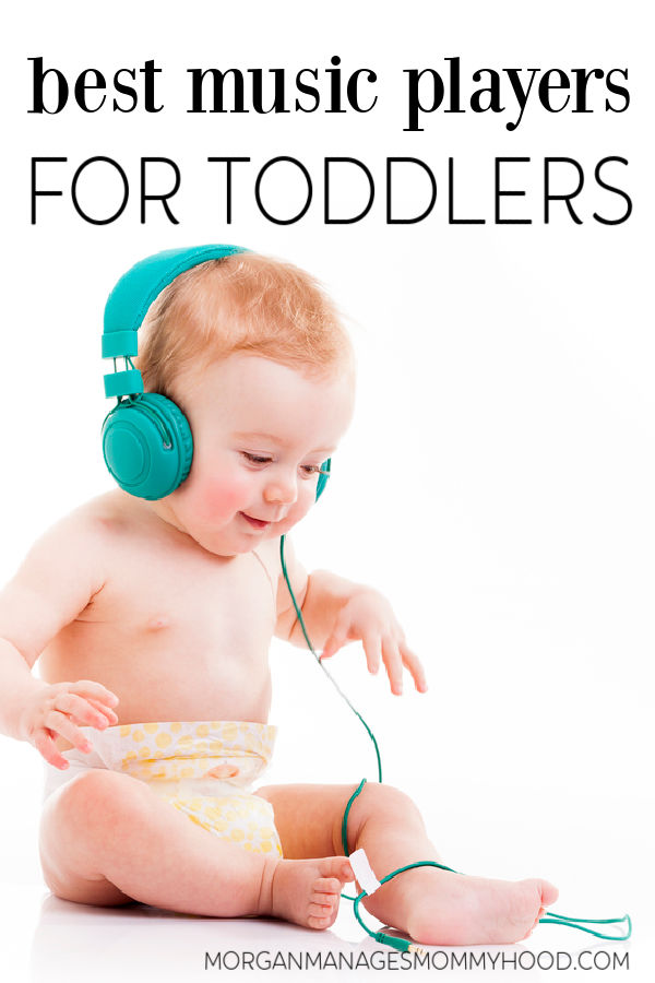 a toddler in a diaper listening to a pair of headphones with text overlay reading music player for toddlers