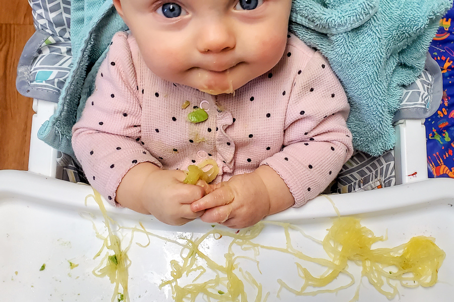 a baby in a high chair eating spaghetti squash off the white high chair tray