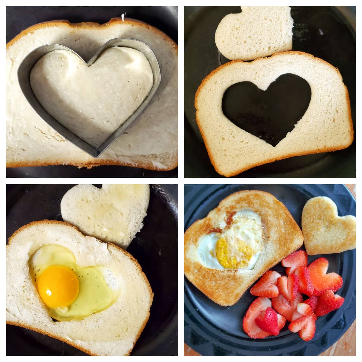 collage image showing the steps to make a heart egg in a hole - cutting the bread, frying the eggs, and the finished product