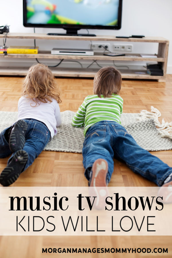 kids on their bellies watching TV in a living room with text overlay reading music shows kids will love