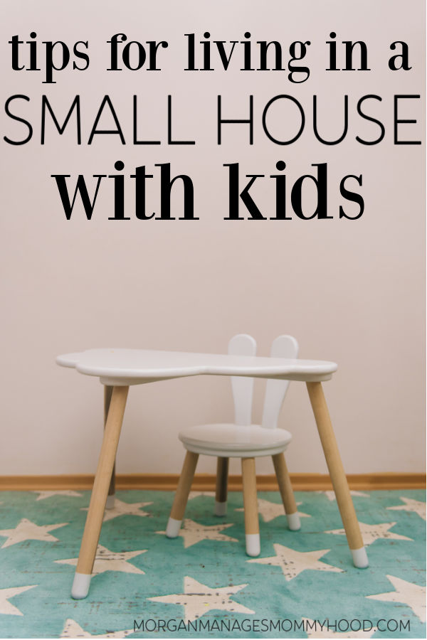 a kids chair on table in a room with a star run and pink walls with text overlay reading tips for living in a small house with kids