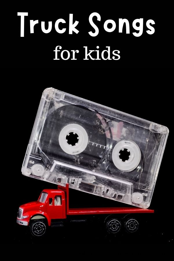 a toy truck carrying a cassette tape with text overlay reading truck songs for kids