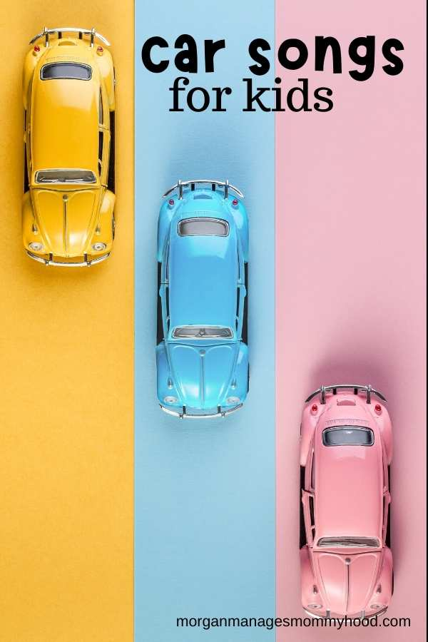 three toy cars driving on colorful lines with text overlay reading car toys for kids