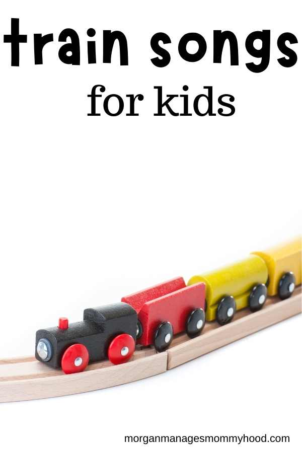 a toy train on a wooden track with text overlay reading train songs for kids