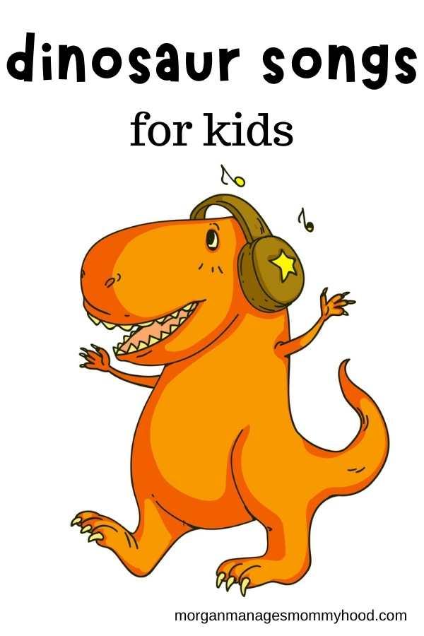 an orange cartoon dinosaur on a skateboard singing with text overlay reading dinosaur songs for kids