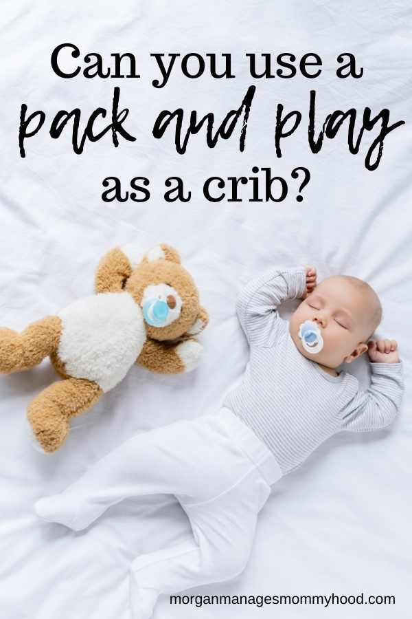 a baby in white clothes with a pacifier sleeping on white sheets necxt to a teddy bear
