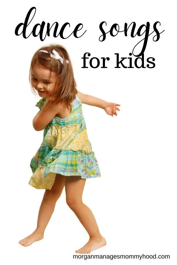 a little girl in a dress dancing with text overlay reading dance songs for kids