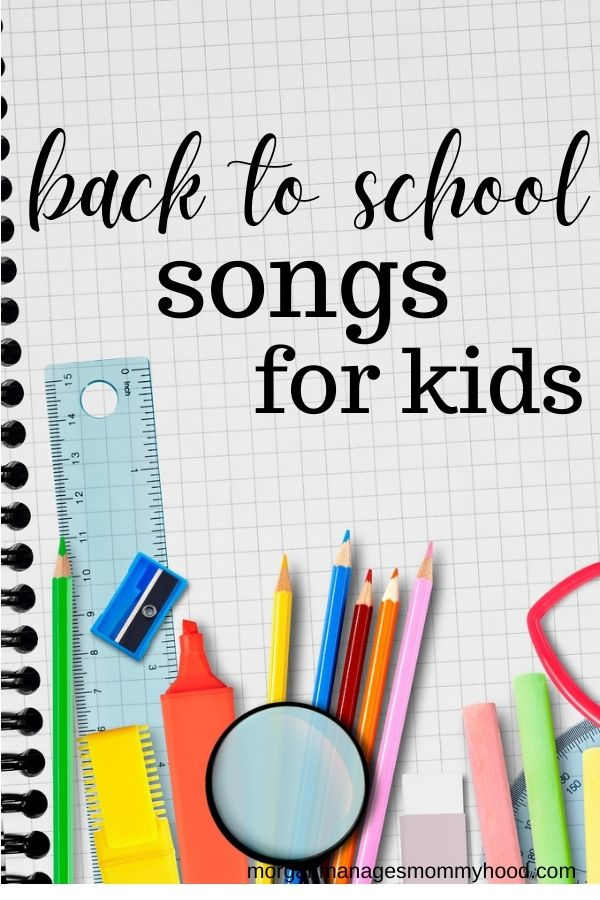 colorful school supplies with text overlay reading back to school songs for kids