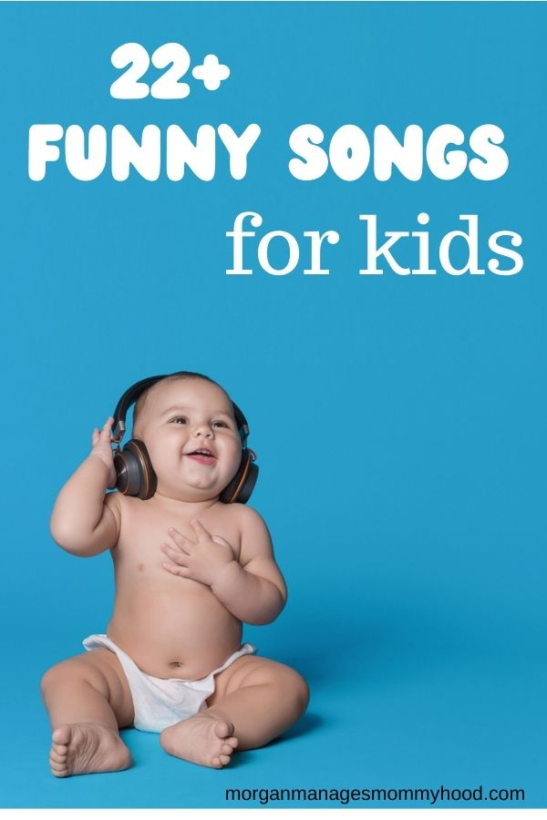 a baby smiling in a diaper with headphones on, text overlay reading 22 funny songs for kids