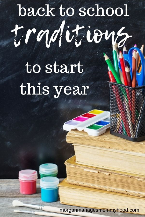 a ztack of school supplies in front of a blackboard with text overlay rading back to school traditions to start this year