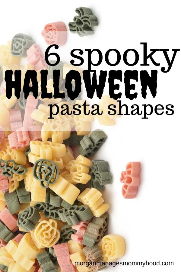 Dried halloween pasta on a white background with text overlay reading 6 spooky halloween pasta shapes