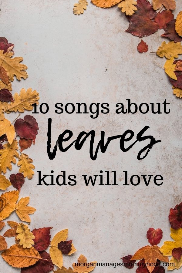 fall leaves on a light background with text overlay reading songs about leaves kids will love
